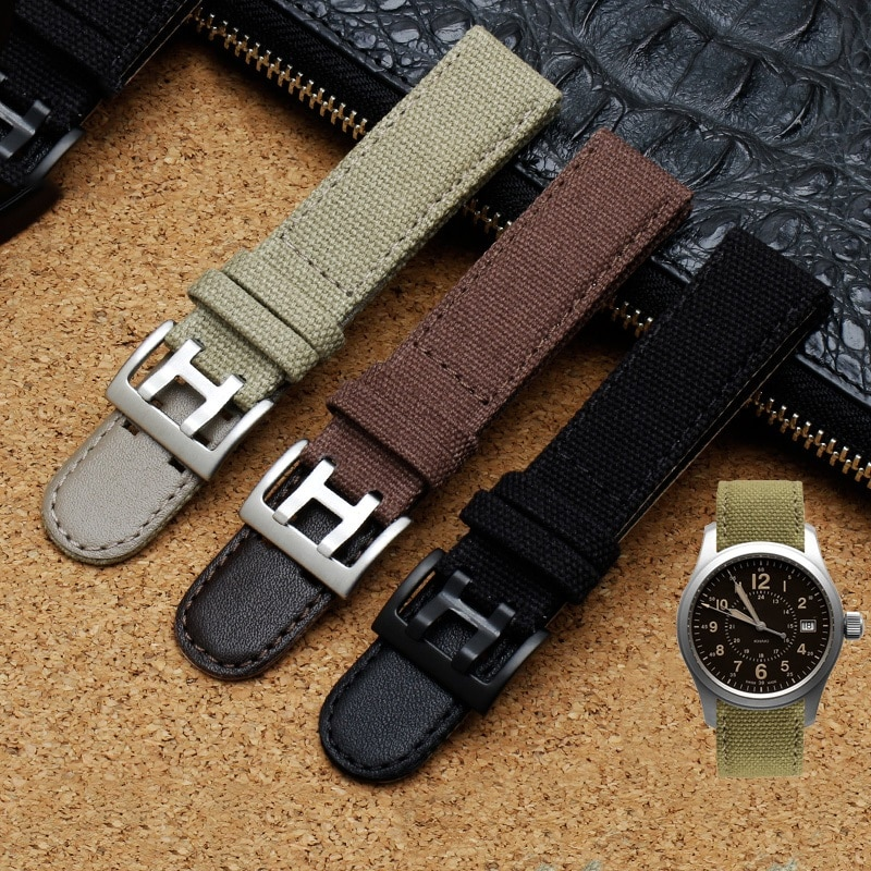 Genuine Leather Nylon Watch Band For Hamilton Khaki Field Watch h760250 h77616533 For Seiko Watch St