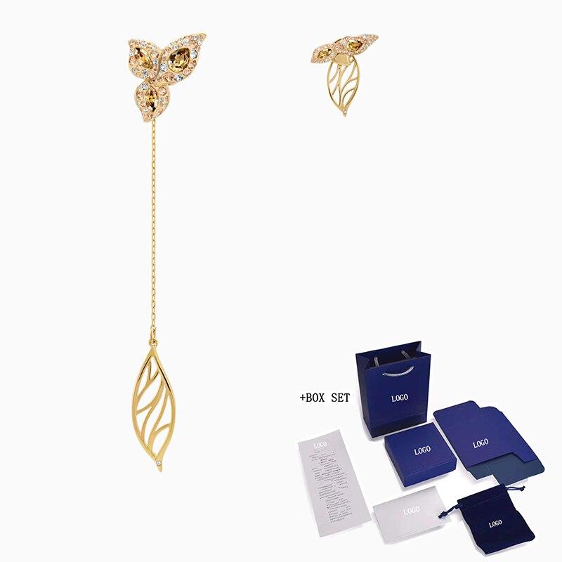 2020 acessórios de moda swa nova graciosa flor assimétrica brincos marrom folhas decoração senhora clássico presente romântico engagemen