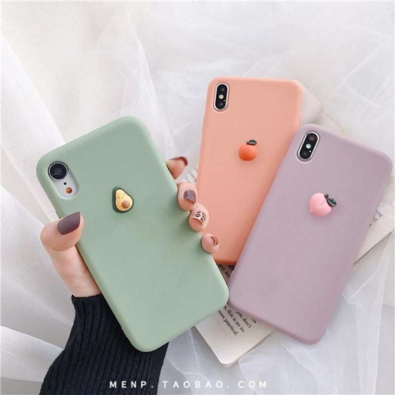 Cute 3D fruit Orange peach Avocado Banana macaron silicon phone case for iphone X XR XS 11P MAX 6 7 8 plus for samsung S8 9 10