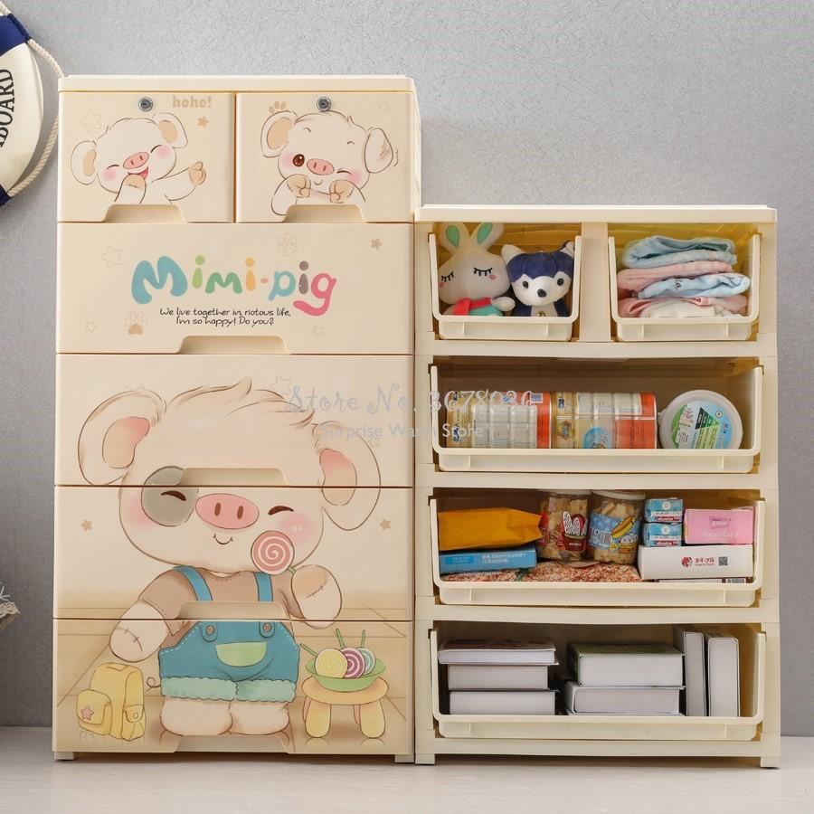 صندوق تخزين بتصميم كرتوني لطيف ، درج بلاستيكي سميك ، خزانة ألعاب للأطفال ، خزانة ، دلو ، خزانات ، فرز