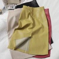 heliar women pu leather skirts high waist solid straight elegant split skirt midi leather skirts for women 2021 autumn