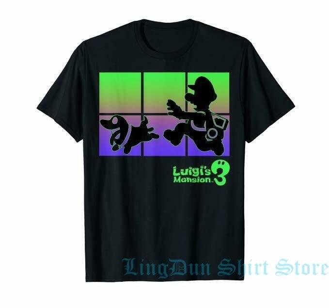 Camiseta de silueta de Luigis Mansion 3 Lugi y Polterpup camiseta para hombre Camiseta para mujer camisetas divertidas de algodón 100% de manga corta