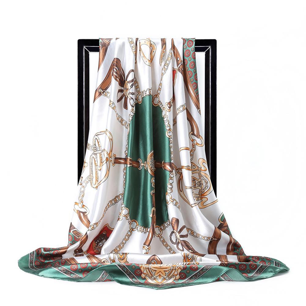 Foulard en soie pour femmes Satin châle mode chaîne impression Foulard vert grande taille mouchoir Bandanna 90cm tête carrée Hijab foulards