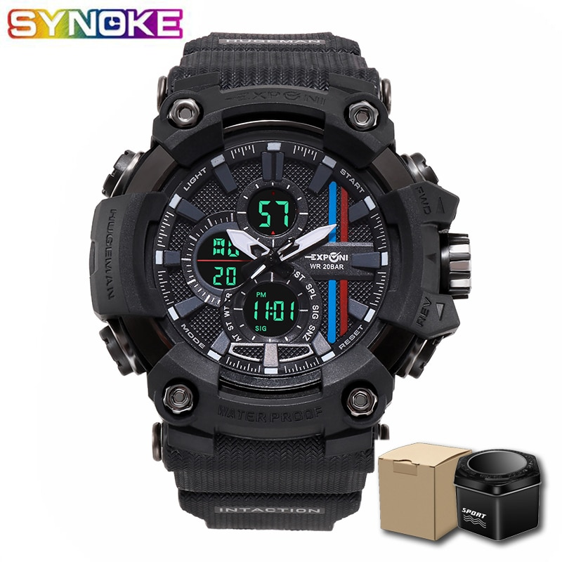 SYNOKE Men Quartz Wirstwatches Military Life Waterproof Black Rubber Sport Wristwatch Chronograph Male Clock Led Montre Homme