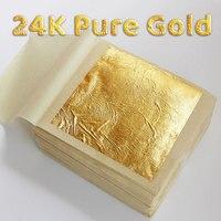 Золотая фольга 24 К, 10 шт., листочек из съедобного золота листов для украшения торта «сделай сам», художественных промыслов, золочение, дизайн...