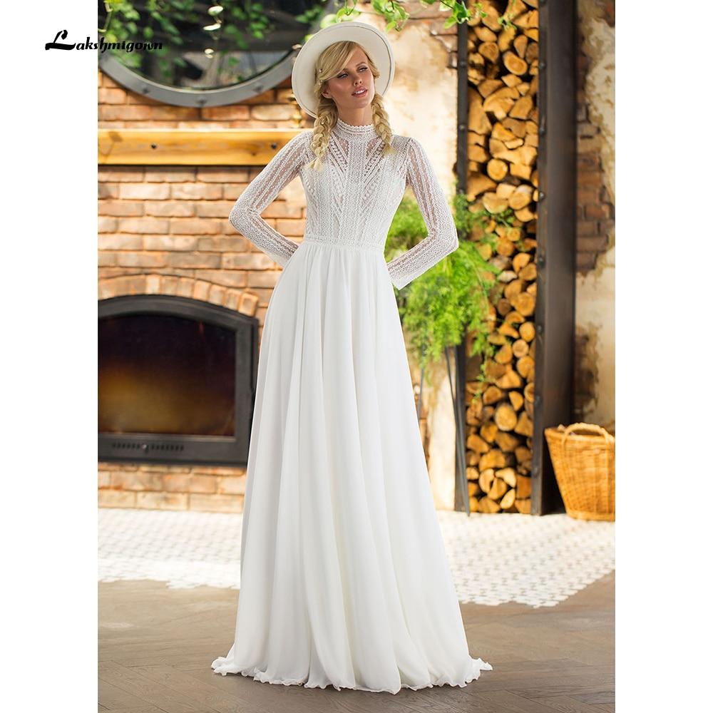 Vestidos de novia bohemios de gasa con cuello alto y manga larga, vestidos de novia elegantes con botones en la espalda, playa, verano, 2021