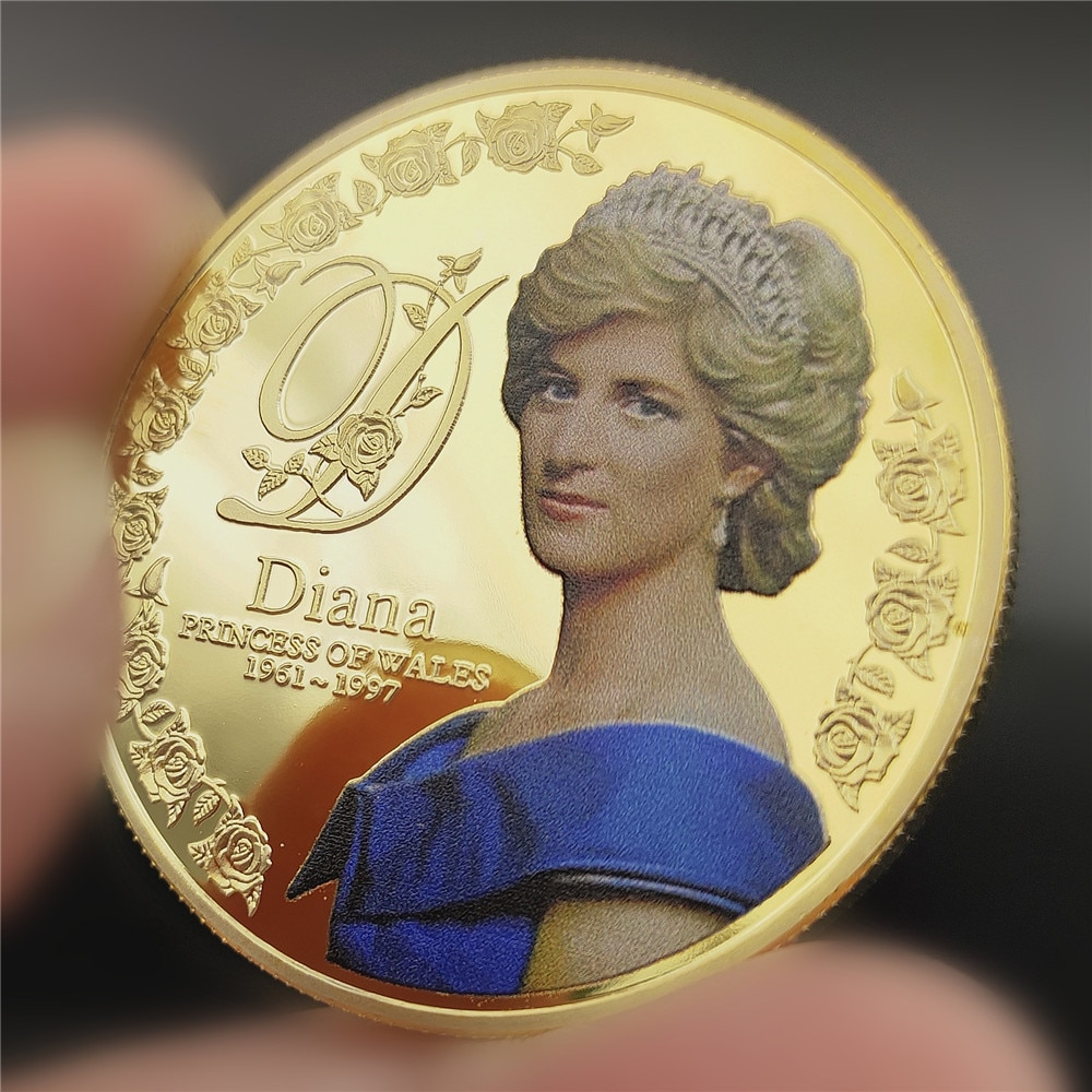 Five Pounds 999 Gold Silver Plated Coin Diana Princess of Wales Coins Collectibles Coins of British Diana Spencer