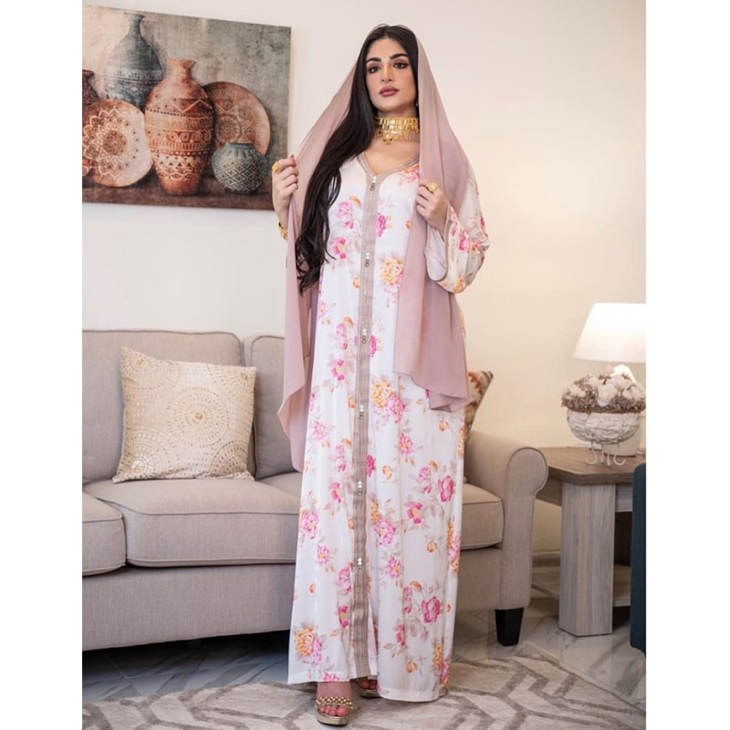 2021 Eid Mubarak Dubai Abayas for Women White Floral Caftan Marocain Muslim Women Hijab Long Kimono Islam Prayer Dress Woman
