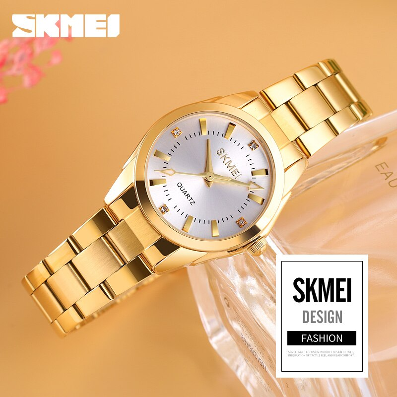 SKMEI Fashion Women's Watches Quality Quartz Ladies Wrist Watch Waterproof Stainless Steel band reloj mujer Simple Style 1620 enlarge