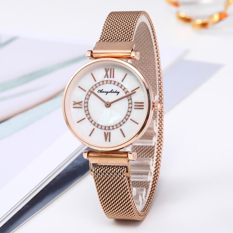 Модные женские кварцевые часы с магнитным сетчатым ремешком, лучшие бренды, повседневные наручные часы, женские часы, женские часы
