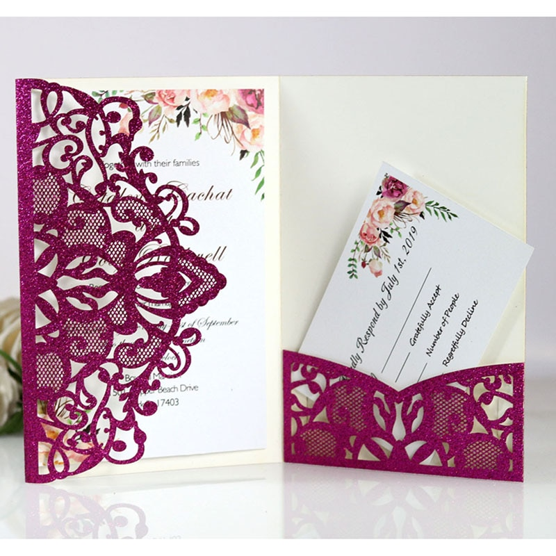 100pcs European Glitter Paper Laser Cut Wedding Invitations Card Tri-Fold Lace Business Greeting Cards Wedding Party Decoration
