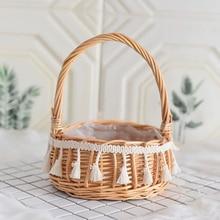 실용적인 수제 위커 등나무 바구니 장식 정원 꽃 냄비 빵 과일 저장 바구니 홈 주최자