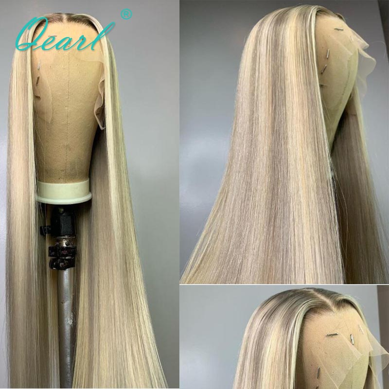 Straight Lace Front Wig Ombre Warm Ashy Blonde Highlights 13x4/13x6 Human Hair Wigs Brazilian Remy Hair Glueless 150% Qearl