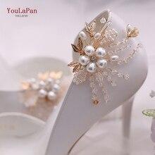 YouLaPan-Clip de tacón alto para novia, hebilla para zapatos de boda con diamantes de imitación, decoración Floral, perlas, 2 unids/lote