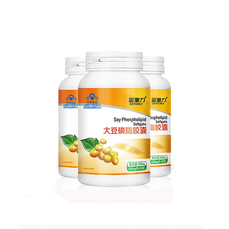 Natural Soy Lecithin Liquid 1000mg*100pcs Prevent and Treat Atherosclerosis Liver Disease Senile Dementia Soybean Phospholipids