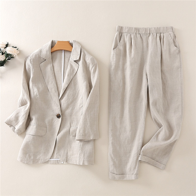 Women's suit temperament suit cotton and linen women's fashion casual nine-point pants linen suit suit 2 piece outfits for women