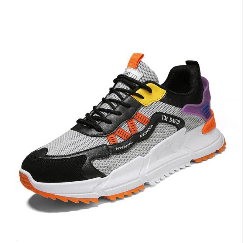 أحدث شبكة الرجال أحذية رياضية حذاء كاجوال الدانتيل متابعة خفيفة مريحة تنفس Zapatillas Hombre Patcahwork أحذية رجالي