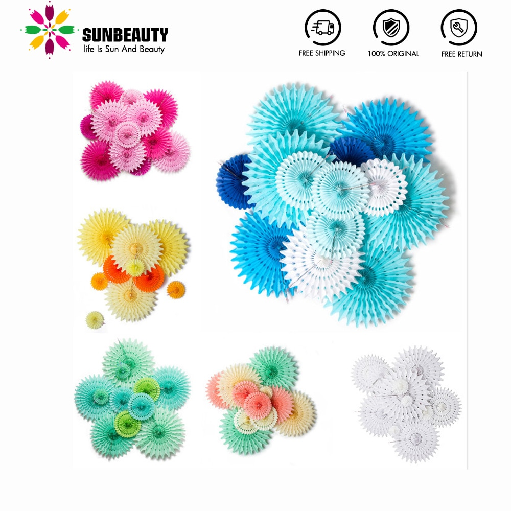 12pcs Paper Rosettes Baby shower Party Decorations Snowflake Tissue Paper Fans for Kids Birthday Marriage Summer Party Supplies