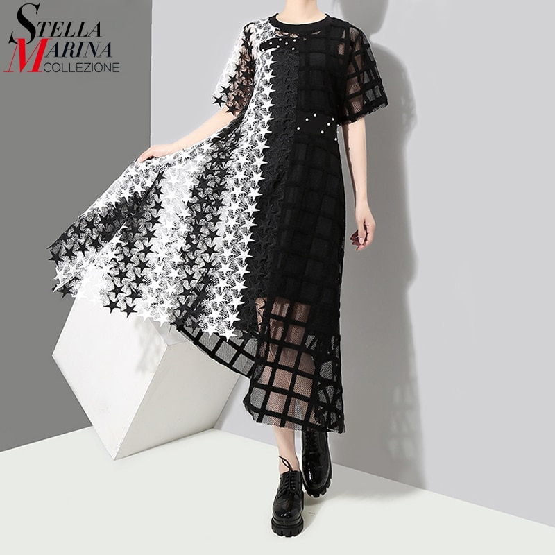 Новый 2020 Для женщин Летнее Длинное черный, белый цвет прозрачное кружевное платье с открытыми плечами платье леди ночной вечерние сексуальное асимметричное Клубное платье халат 3517