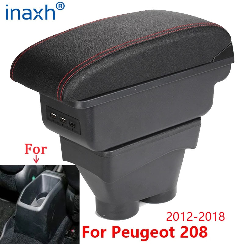 For Peugeot 208 Armrest Box 2012-2018 Storage box Car Holder Ashtray Interior accessories Retrofit p