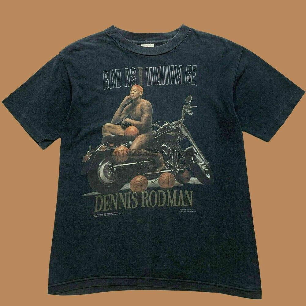 Nuevo-raro-Dennis-Rodman-Chicago-Bulls-Vintage-Camiseta talla USA
