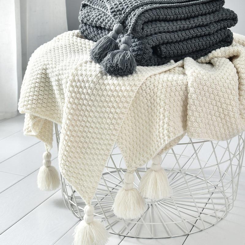 Couverture de fil avec gland solide Beige gris café jeter couverture pour lit canapé maison Textile mode Cape 130x170cmcouverture tricotée
