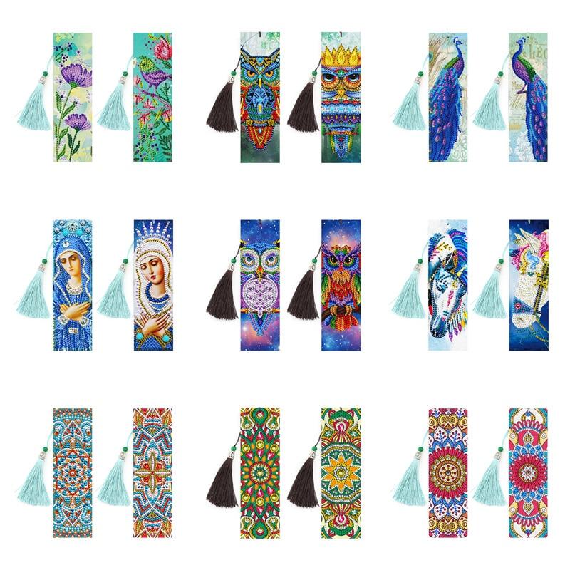 New 2/4pcs DIY Bookmark Christmas Diamond Painting Cross Stitch 5D Diamond Embroidery Book Mark For Birthday Gift