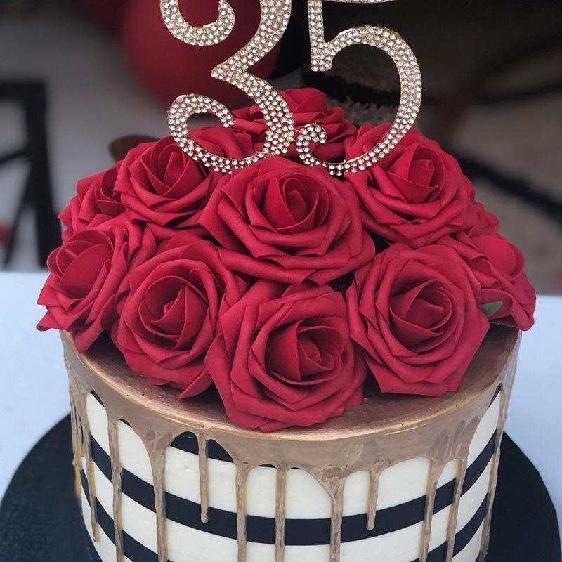20 piezas Artificial Rosa ramo de espuma Rosa Flores novia ramos para decoración de boda para evento jardín casero decorativo flor falsa