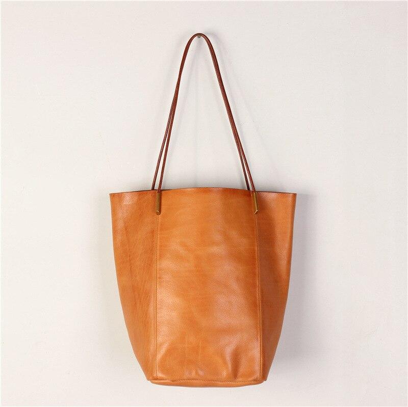 خمر جلد البقر حقيبة تسوق كبيرة عادية اليدوية اليد ذات جودة عالية