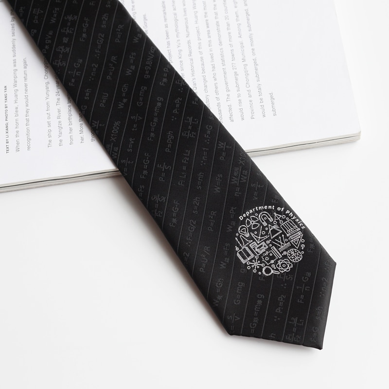 Free shipping New Men's male female Original design Physical formula Black embroidery tie Fun student laboratory College style