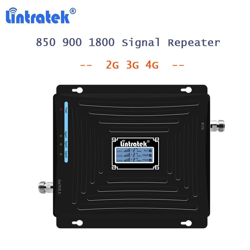 850/900/1800mhz Repetidor 2G/3G/4G móvil Amplificador de señal móvil 2G Repetidor CDMA 850/DCS 1800 + 900 Repetidor, con pantalla LCD 40