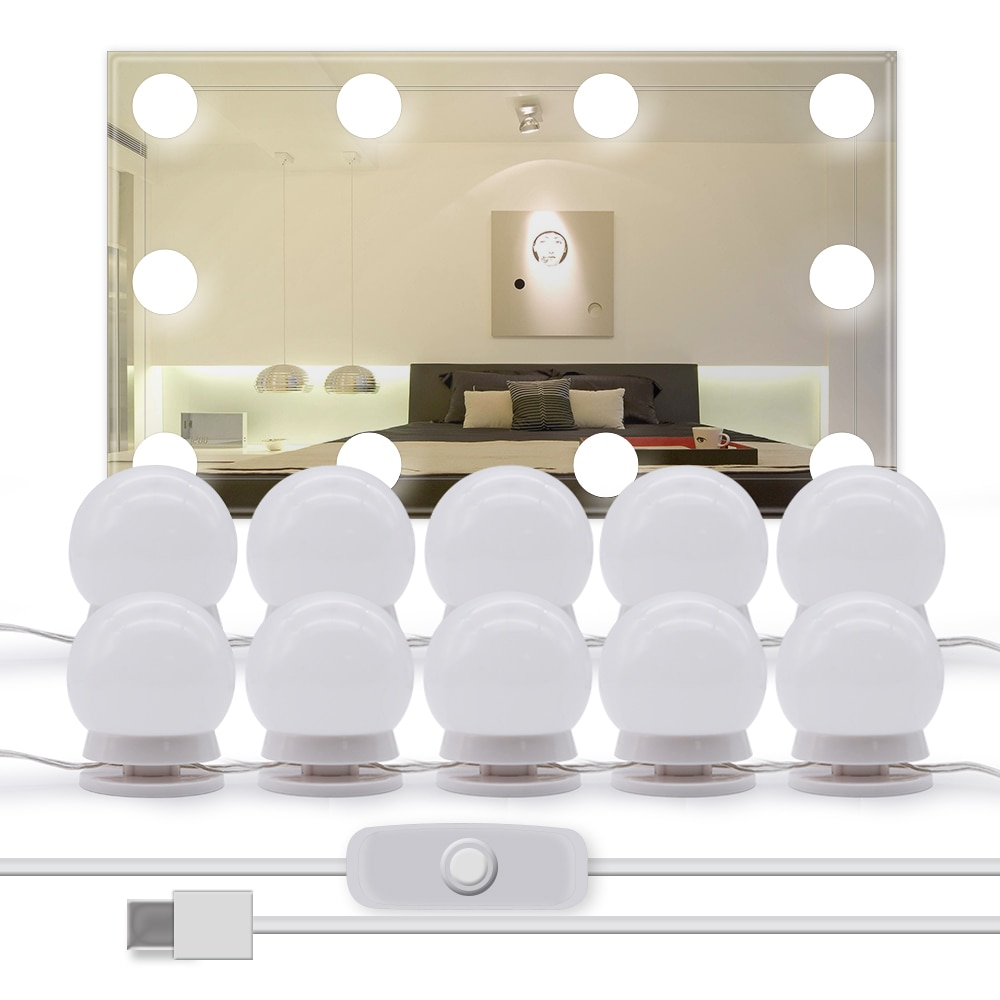 oufula led vanity mirror light usb hollywood style usb 3 colors waterproof USB Powered Vanity Mirror Light Hollywood Style Makeup Lamp 10PCS LED Bulb For Dressing Table No Mirror