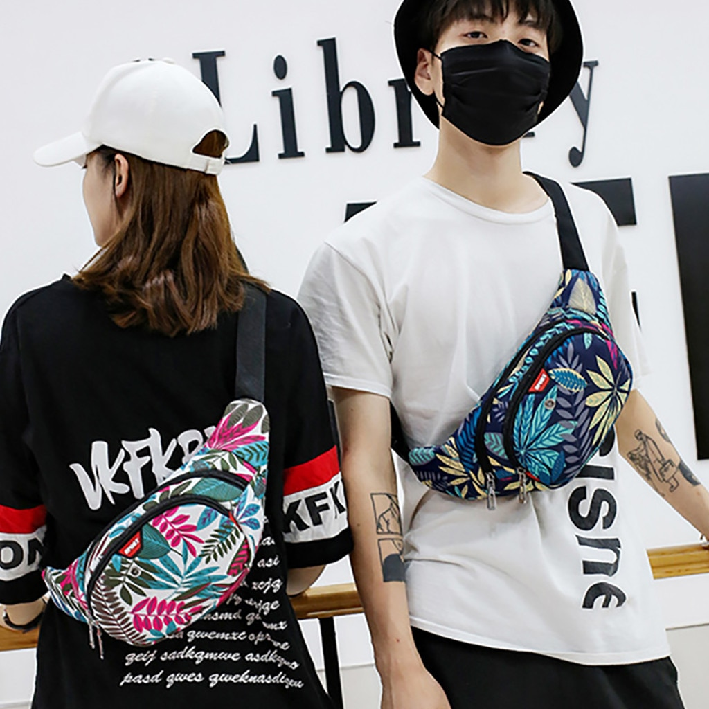 Floral Waist Pack Men And Women's NEW Fashion Trend Sport Waist Waterproof Shoulder Printing Zipper Bags Freeship Талия пакет