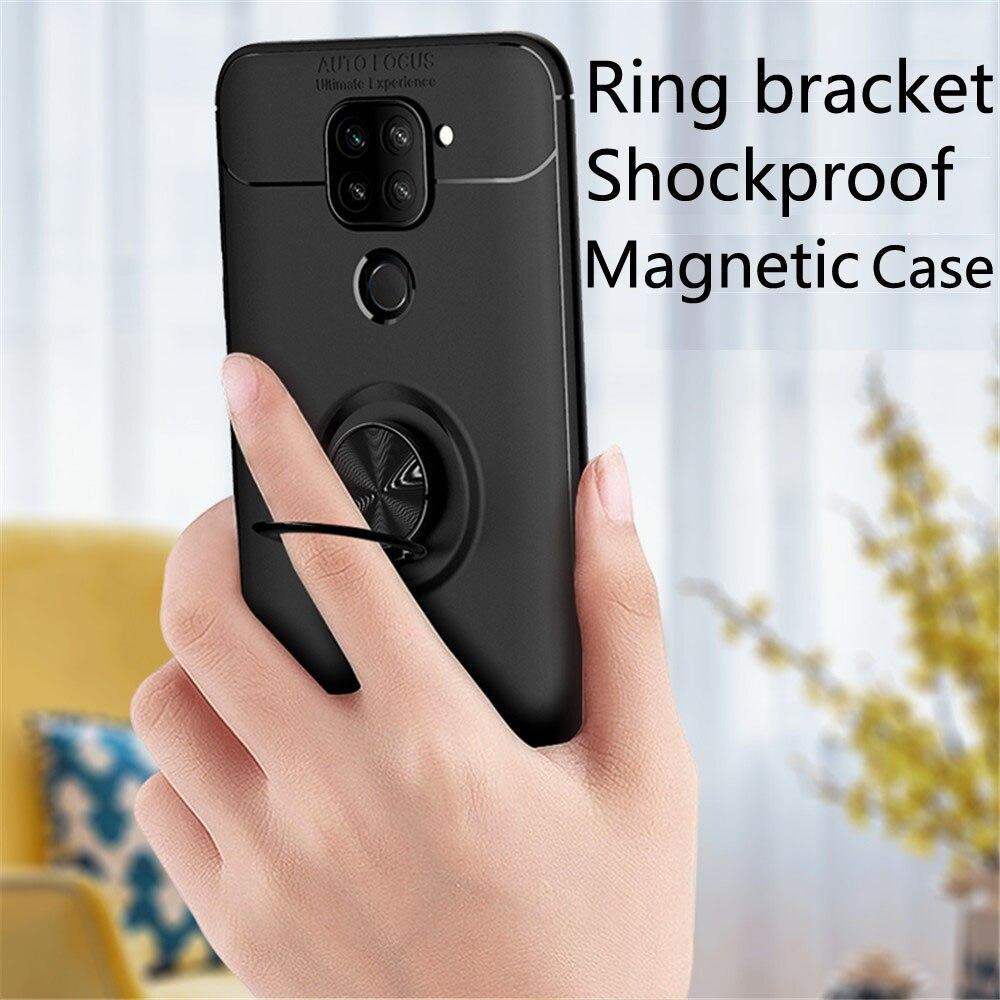 Funda de teléfono para Xiaomi Redmi Note 9, funda de teléfono para Redmi 10X, funda de teléfono de lujo con anillo suave de silicona magnética, funda Anti-caída, Capa