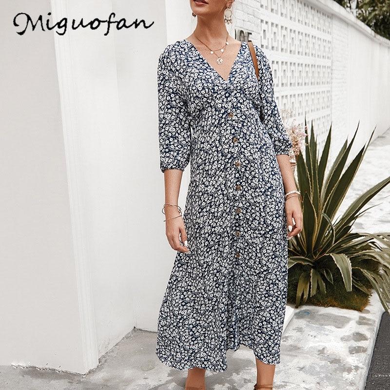 Miguofan estampado floral mujeres boho maxi vestidos vestido largo botón vintage sexy cuello en v elegante vestido femenino 2020 primavera