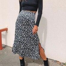 Été 2020 femmes imprimé léopard taille haute femme midi jupe une ligne sexy fermeture éclair jupe fendue tenue de club dames sexy boho plage jupes