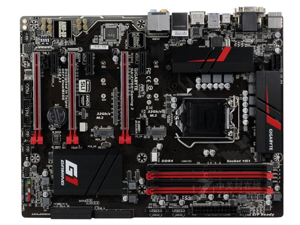 اللوحة الأم الأصلية DDR4 LGA 1151 HDMI DVI VGA USB2.0 USB3.0 64GB GA-Z170X-GAMING 3 اللوحة الأم لسطح المكتب Z170X-GAMING