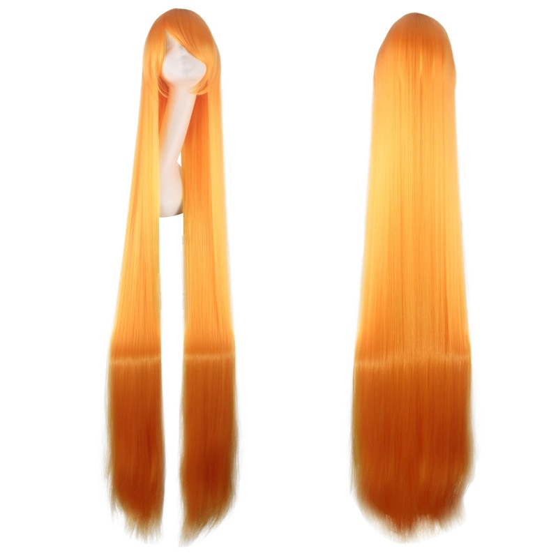 150CM 59'' Long Straight Wig with bangs women orange Synthetic Hair Heat Resistant Fiber cosplay Wigs Halloween party Peruca