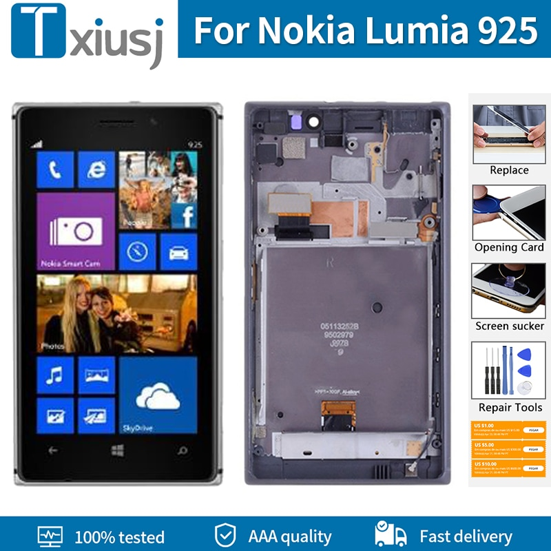 4,5 LCD Original + marco para Nokia Lumia NOKIA 925 RM-893 LCD pantalla táctil digitalizador montaje 100% probado herramientas gratis