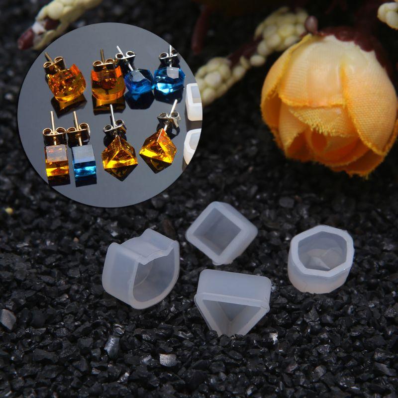 8 par/set moldes de silicona de resina UV DIY cristal epoxi molde pequeños pendientes de perno de fabricación de molde accesorios de joyería