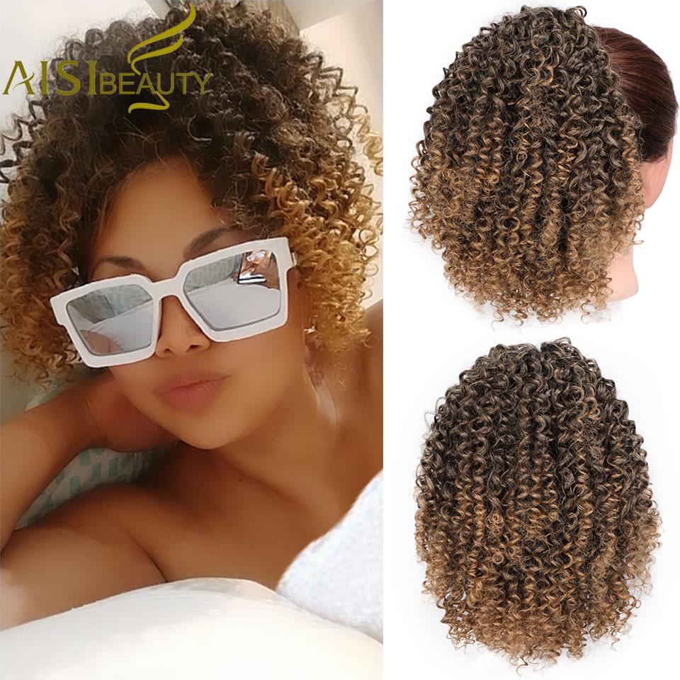 Rabo de Cavalo Extensão do Cabelo Sintético para Mulheres Aisi Beleza Ombre Marrom Afro Kinky Curly Drawstring Natural Cabelo