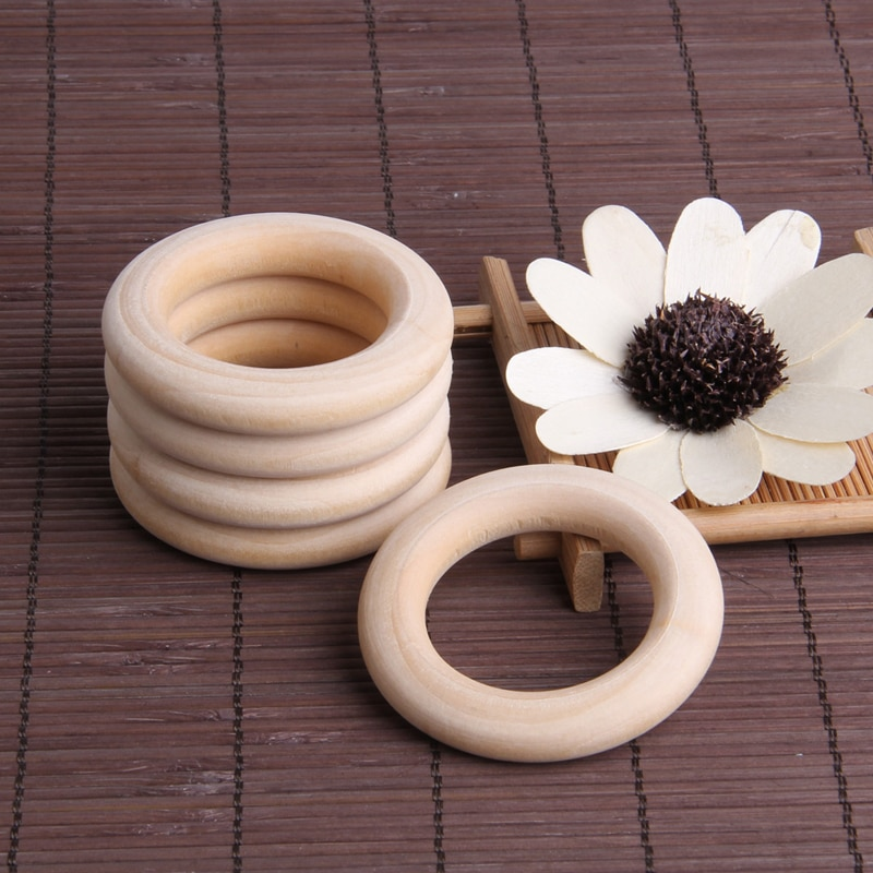 2021 New 5Pcs 25mm~125mm Beech Wooden Baby Teething Rings Wooden Baby Teethers Accessories For Baby