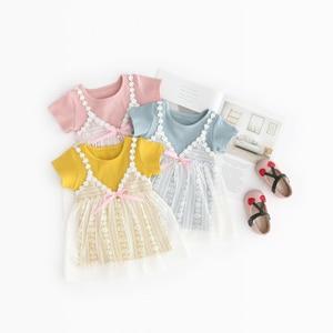 Girl summer new dress Girl lace camisole dress Girl cotton soft and comfortable dress Girl short sleeve dress
