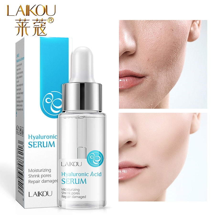 LAIKOU 15ml Hyaluronic Acid Essence Facial Serum Anti Wrinkle Whitening Vitamin C Face Serum Care Skin Hyaluronic Acid Pure laikou hyaluronic acid face serum moisturizing shrink pores whitening brightening tighten facial essence liquidskin care 15ml