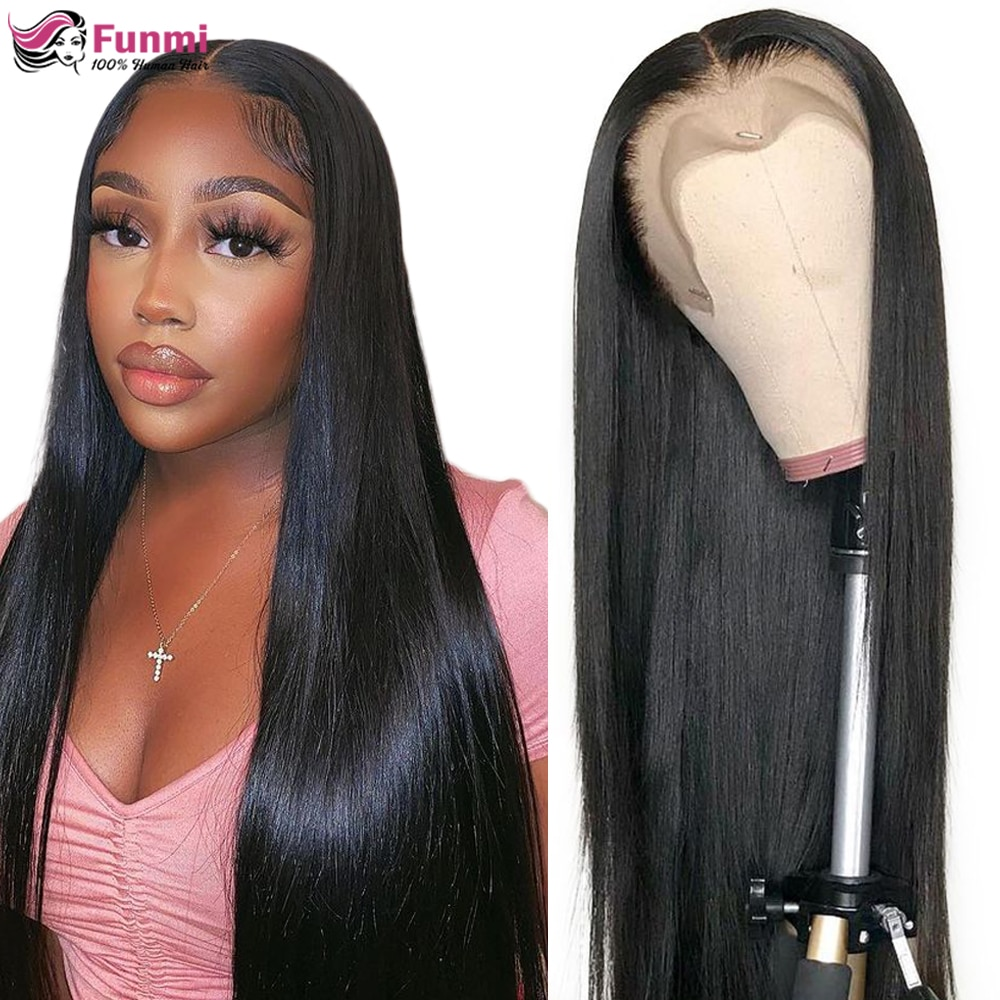13x4/13x6 Straight Lace Front Human Hair Wigs Lace Fronral Wigs Remy Brazilian Bone Human Hair Lace Wigs for Women 180 Density