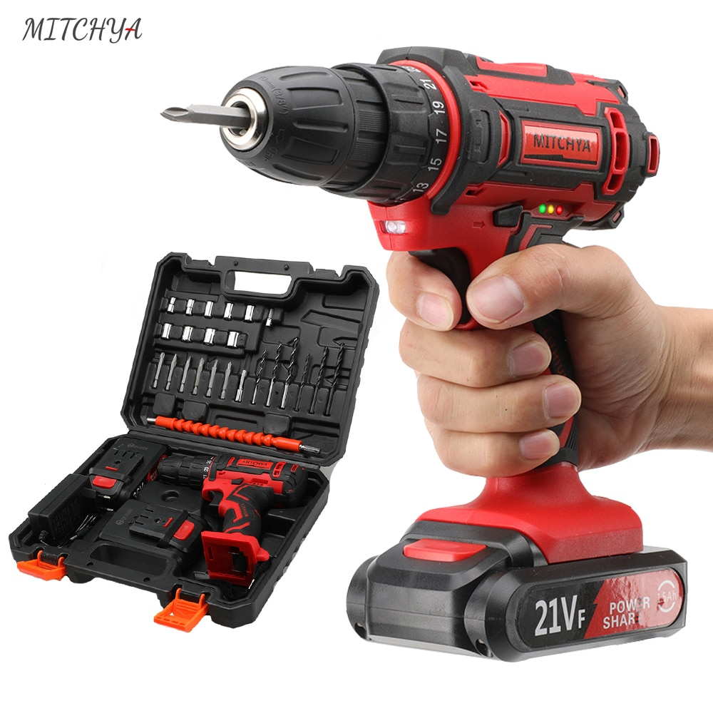 cordless drill 21v power tools 3 in 1 with impact function rotary tool electric screwdriver Electric Drill 21v 16.8v Power Rotary Tools Household Lithium Battery Impact Cordless Screwdriver