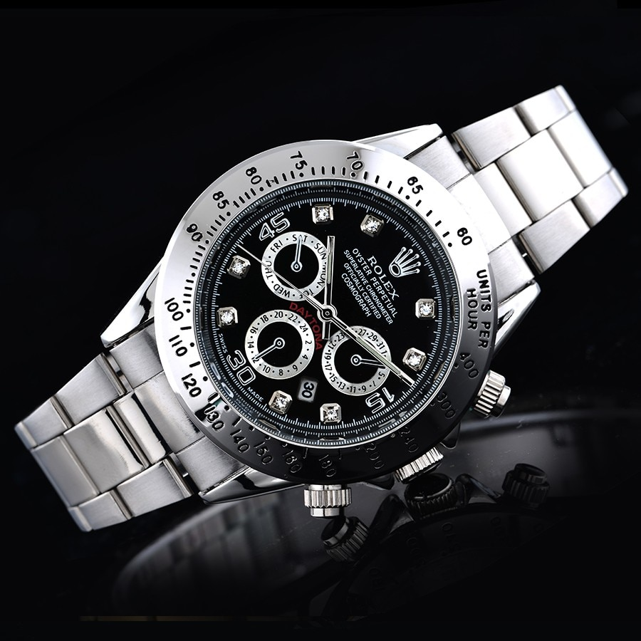 Top Men Rolex- Luxury Fashion sports watches Men's roles daytona Quartz Watch dress Gift Gold Casual