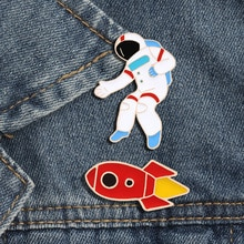 Broche en émail spatial I need my Space tasse broche astronaute fusée constellation épingles revers noël enfants cadeau broches Badge bijoux