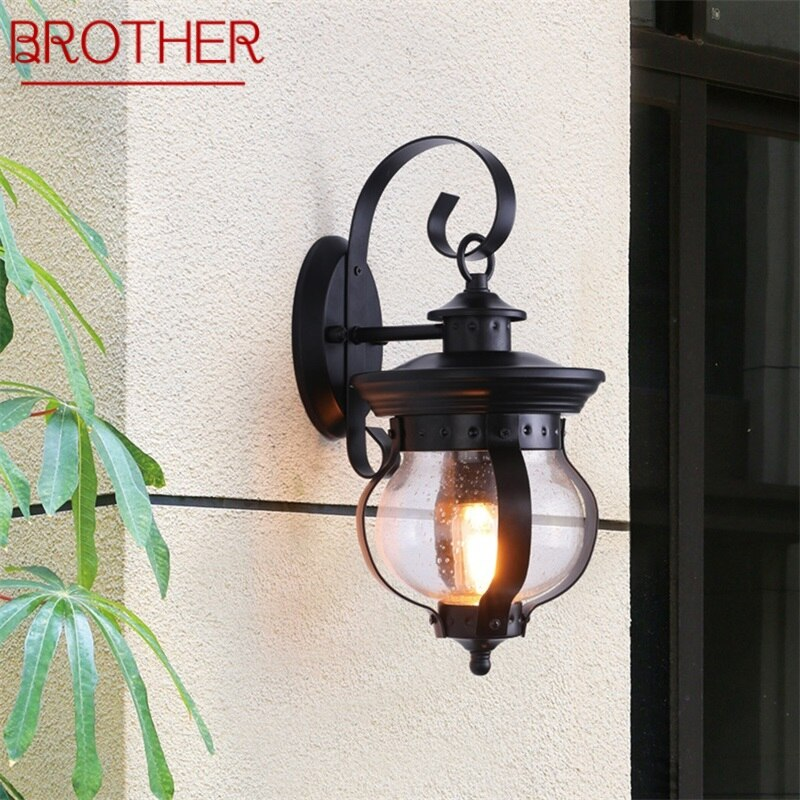 BROTHER Outdoor Retro Wall Light Classical Sconces Lamp Waterproof IP65 LED For Home Porch Villa