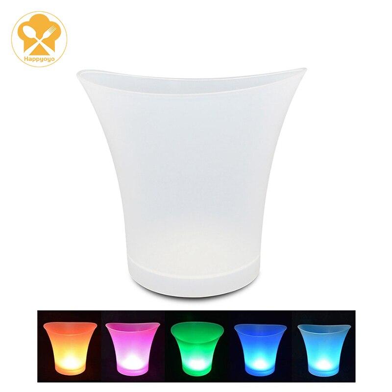 دلو ثلج ملون 5 لتر ، بار ، ملهى ليلي ، إضاءة LED ، زجاجة بيرة ، ويسكي ، كأس ، نبيذ ، حفلة ، مقاوم للماء